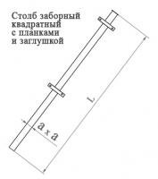 Столб заборный квадратный с планками
